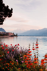 Lake Geneva shore in Montreux with flower bushes