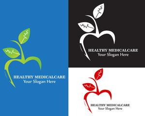 Healthy medical apple logo. editable vector logotype