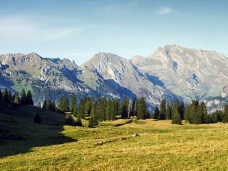 View on top Wildhuser Schofberg in Alpstein mountain range - Canton of St. Gallen, Switzerland