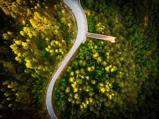 Road and Stegastein viewpoint in mountains Norway. Aerial view