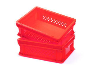 Empty red plastic crates