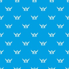 Viking helmet pattern vector seamless blue repeat for any use