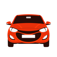 red  car, vector illustration, flat style, front