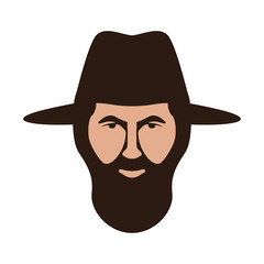 man with hat vector illustration, flat style, front