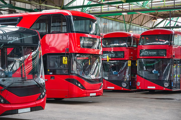 Typical London buses parked at garage in East London