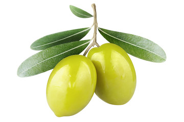 Olive branch with two green olives, isolated on white background Wall mural