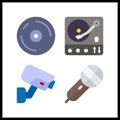 4 record icon. Vector illustration record set. turntable and compact disc icons for record works