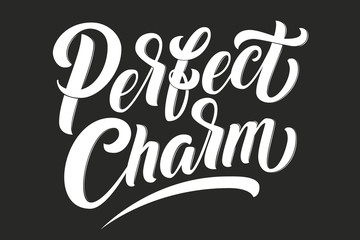 Hand drawn lettering Perfect Charm with outline. Elegant isolated modern handwritten calligraphy. Vector Ink illustration. Typography poster on black background. For cards, invitations, prints etc.