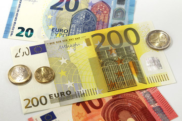 200 Euro currency banknote and Euro coins, European Union