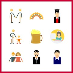 9 smiling icon. Vector illustration smiling set. nurse and men icons for smiling works