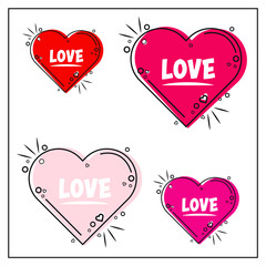 Set of heart sticker