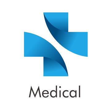 Logotipo abstracto con texto Medical con cruz dividida en espacio negativo en gradiente azul
