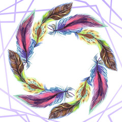 Colorful feathers. Watercolour drawing fashion aquarelle isolated. Frame border ornament square.