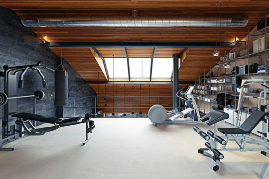 home gym room in the attic