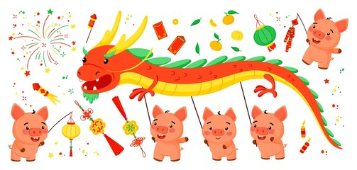 Set of elements for the Chinese New Year of the Pig. Isolated in white background