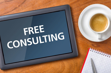 Tablet on a desk - Free consulting