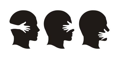 Профиль человека слух зрение голос