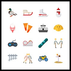 16 fun icon. Vector illustration fun set. motorbike and swimming icons for fun works