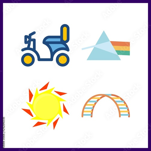 4 wallpaper icon. Vector illustration wallpaper set. motorbike and net climber icons for wallpaper works
