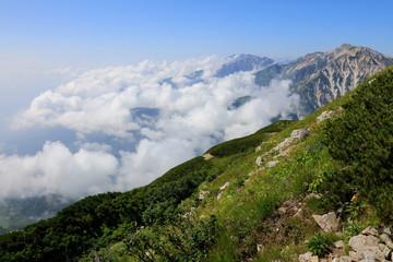 白馬岳から杓子岳,白馬鑓ヶ岳_雲
