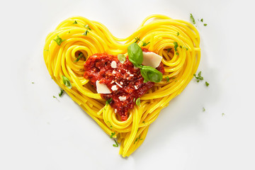 Decorative heart shaped pasta still life