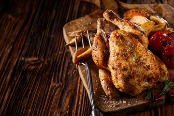 Foto op Aluminium Kip Grilled young poussin or spring chicken