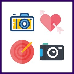 4 aiming icon. Vector illustration aiming set. photo camera and target icons for aiming works