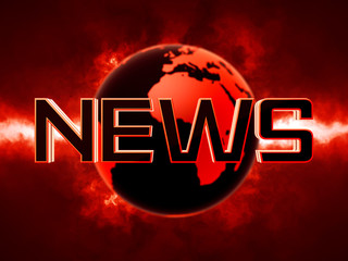 News text futuristic background with earth globe in the back 3D rendered with depth of field out of focus blur