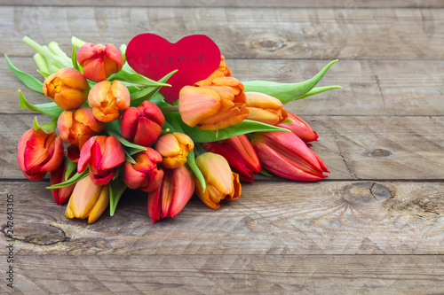 bouquet of tulips and heart - mother's day