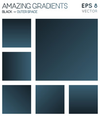 Colorful gradients in black, outer space color tones. Actual gradient background, fine vector illustration.