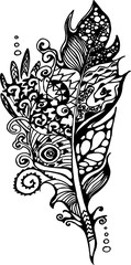 Picture with stylized feathers with doodle patterns.