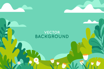 Fotorolgordijn Groene koraal Vector illustration in trendy flat simple style - spring and summer background with copy space for text - landscape