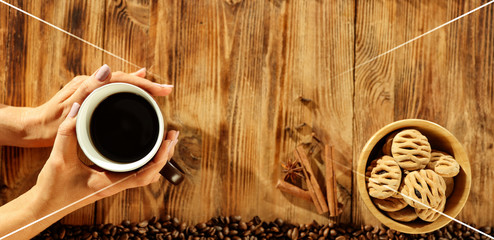 Wall Mural - Fresh hot coffee on wooden table. Hero product shot photo. Free space for your text.