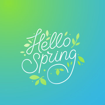 Vector illustration with hand-lettering text hello spring