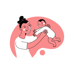 Vector illustration in trendy flat linear style - happy mother and child