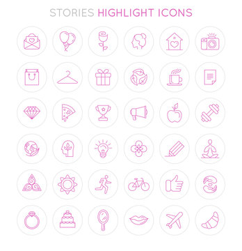 Vector set of icons and emblems for social media story highlight covers - design templates for lifestyle, travel and beauty bloggers