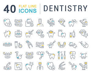 Set Vector Line Icons of Dentistry.