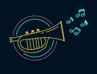 Trumpet neon sign. Led notes. Jazz bar concept. Music shop luminous bright label. Vector isolated illustration.