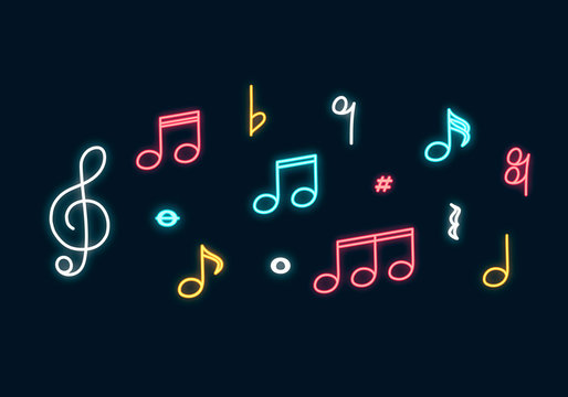 Music notes neon sign. Led Concept for music store with clef. Vector isolated illustration.