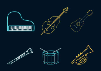 Piano, Cello, Guitar, Drum, Flute, Trumpet neon sign. Rock, Jazz, Blues club emblem. Music shop luminous bright concept. Vector isolated illustration.