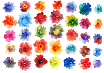 set of colorful watercolor flowers