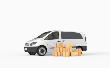 Delivery truck on background. 3D rendering.