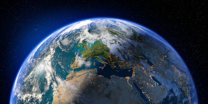 Planet Earth with detailed relief and atmosphere. Day and Night. Europe, North Africa and Middle East. 3D rendering. Elements of this image furnished by NASA