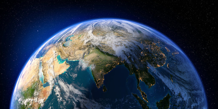 Planet Earth with detailed relief and atmosphere. Day and Night. India. 3D rendering. Elements of this image furnished by NASA