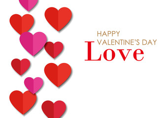 Papercut hearts & greeting of valentine's day