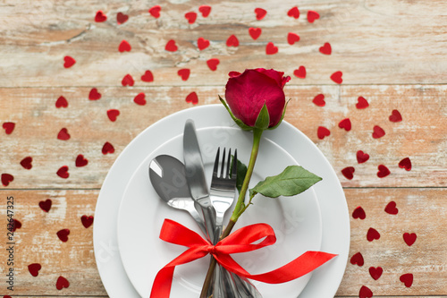 Valentines Day And Romantic Dinner Concept Close Up Of Red Rose
