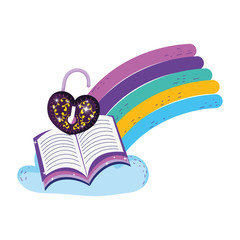 mystical padlock with heart shape and book in rainbow