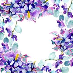 Bouquet flower watercolor background illustration set. Watercolour drawing aquarelle. Frame border ornament square.