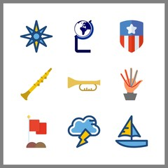 9 wind icon. Vector illustration wind set. sailboat and oboe icons for wind works