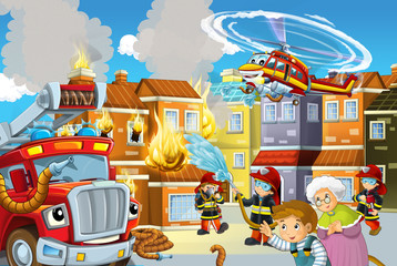 cartoon stage with fireman and fire truck and flying machine near burning building colorful scene - illustration for children